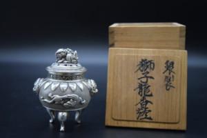 銀製獅子龍香炉