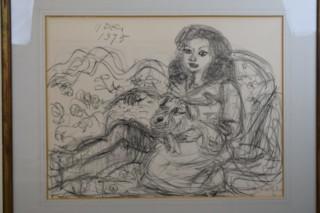 梅原龍三郎 リトグラフ 「犬を抱く少女」